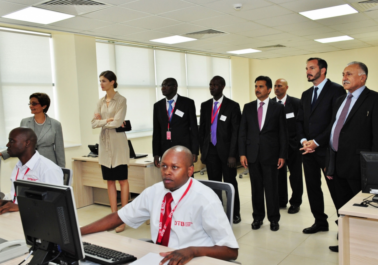 Prince Rahim and Princess Salwa tour the new facilities at the DTB Centre, Nairobi.