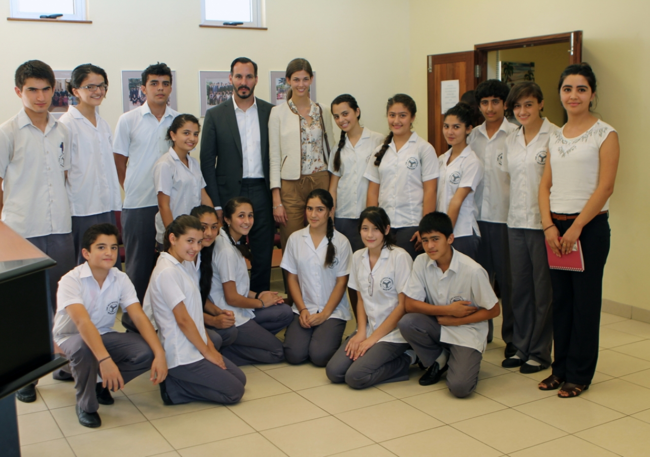 Prince Rahim and Princess Salwa with students from Tajikistan who are enrolled at the Aga Khan Academy, Mombasa.