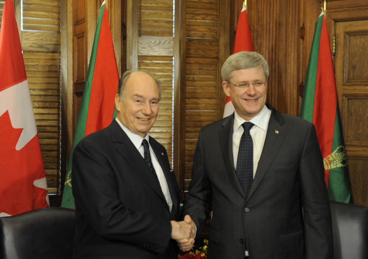 Mawlana Hazar Imam and Prime Minister Stephen Harper meet ahead of Hazar Imam's address to the Parliament of Canada.