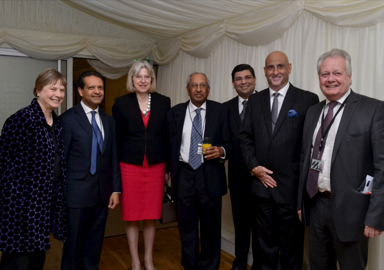 MPs Angie Bray, Eric Ollerenshaw and Home Secretary Theresa May, together with President Amin Mawji of the Ismaili Council for the UK and other Jamati leaders at a Navroz reception held at the Houses of Parliament.