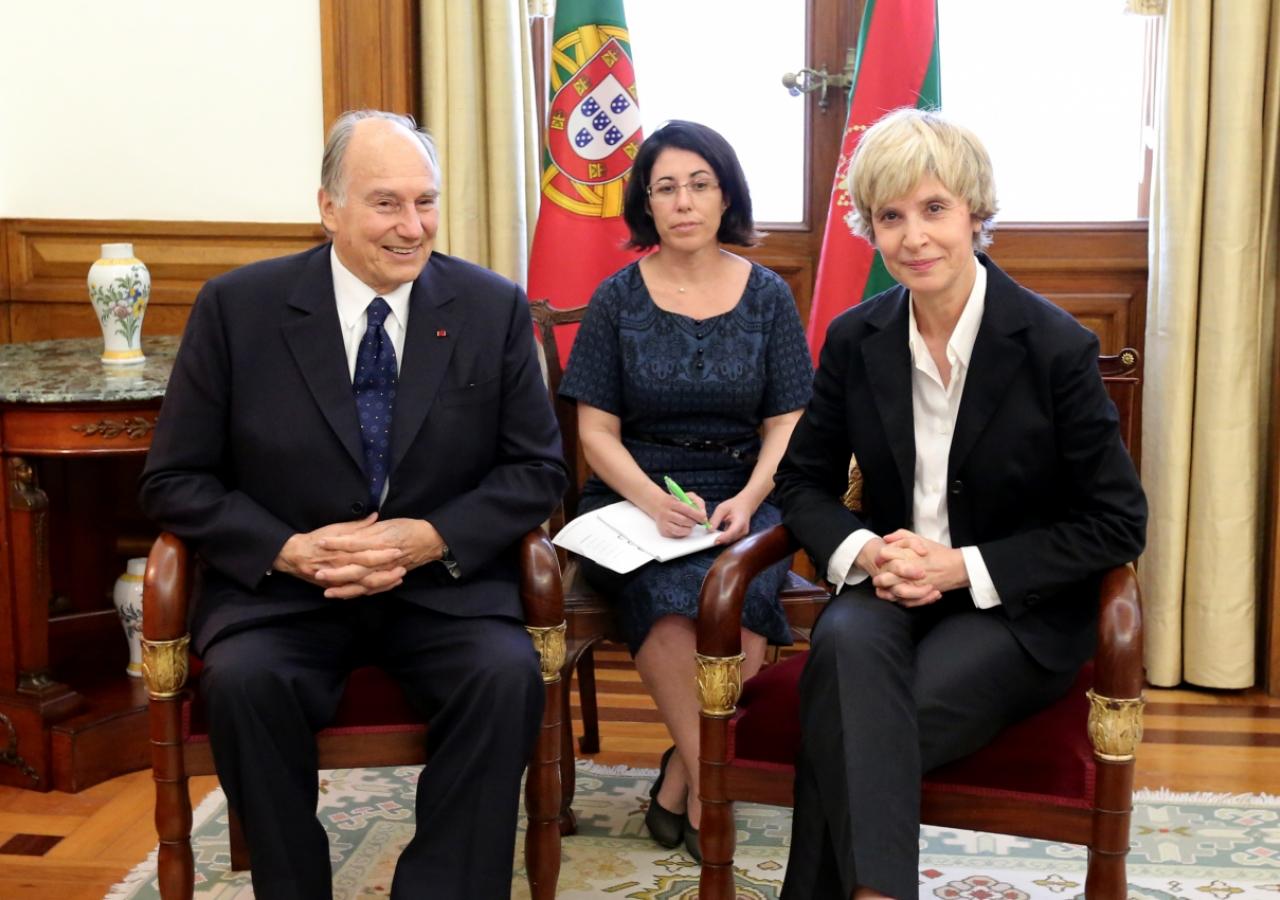Mawlana Hazar Imam meets with the President of the Assembly of the Republic, Maria Assunção Esteves.