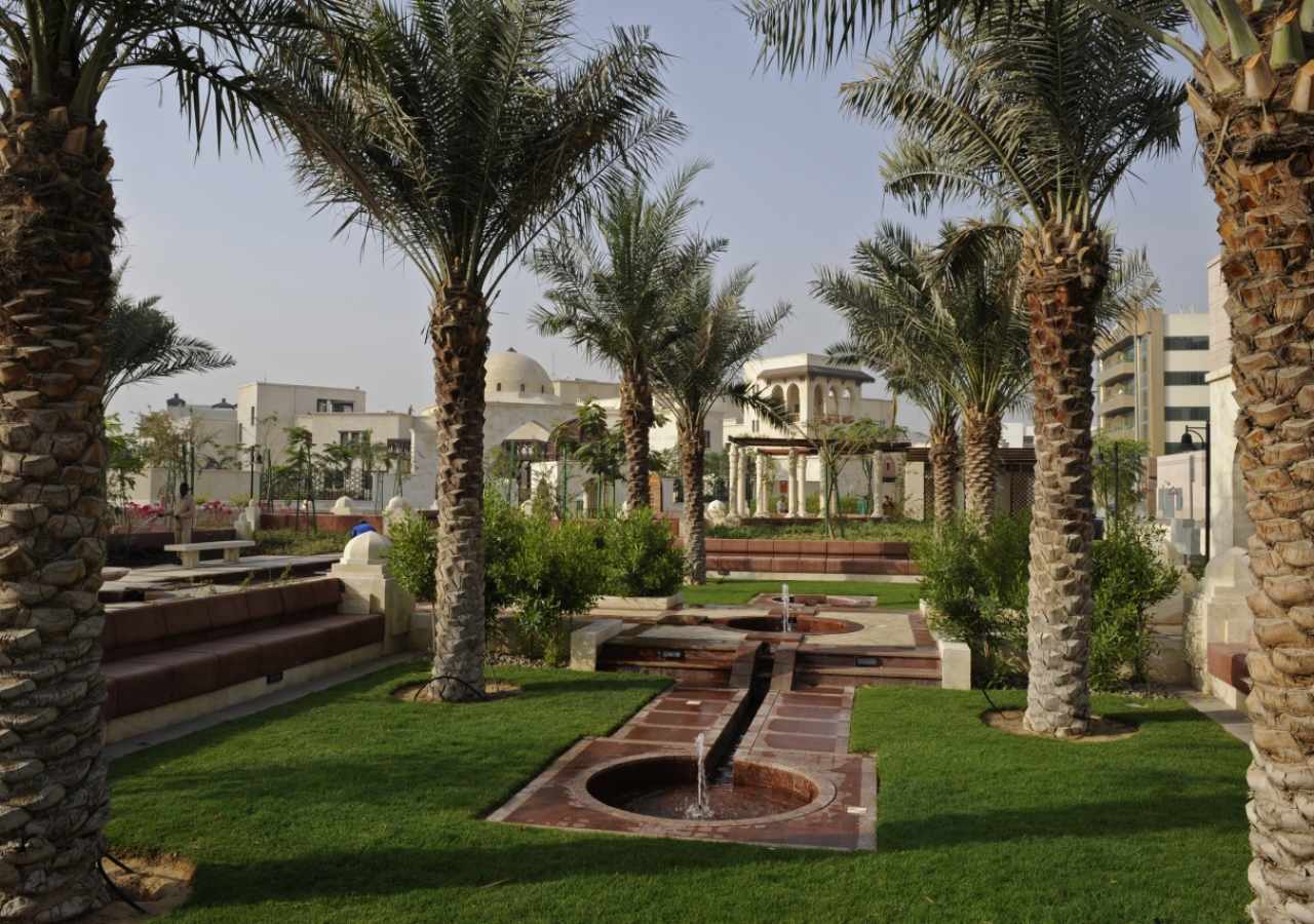 The beautiful landscaped gardens in a serene setting reflect an Islamic tradition.