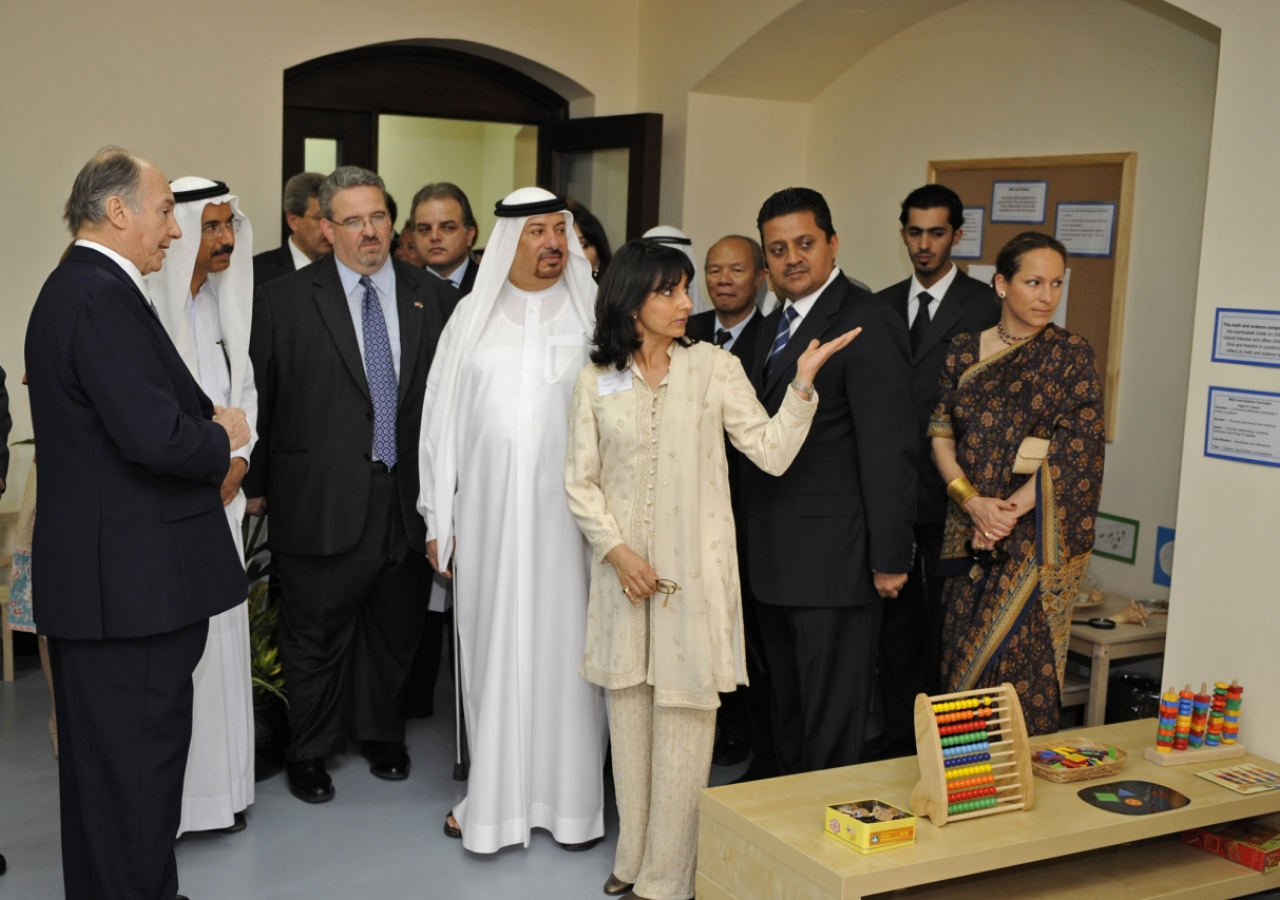 Mawlana Hazar Imam and various dignitaries visit the Early Learning Centre at the Ismaili Centre, Dubai.