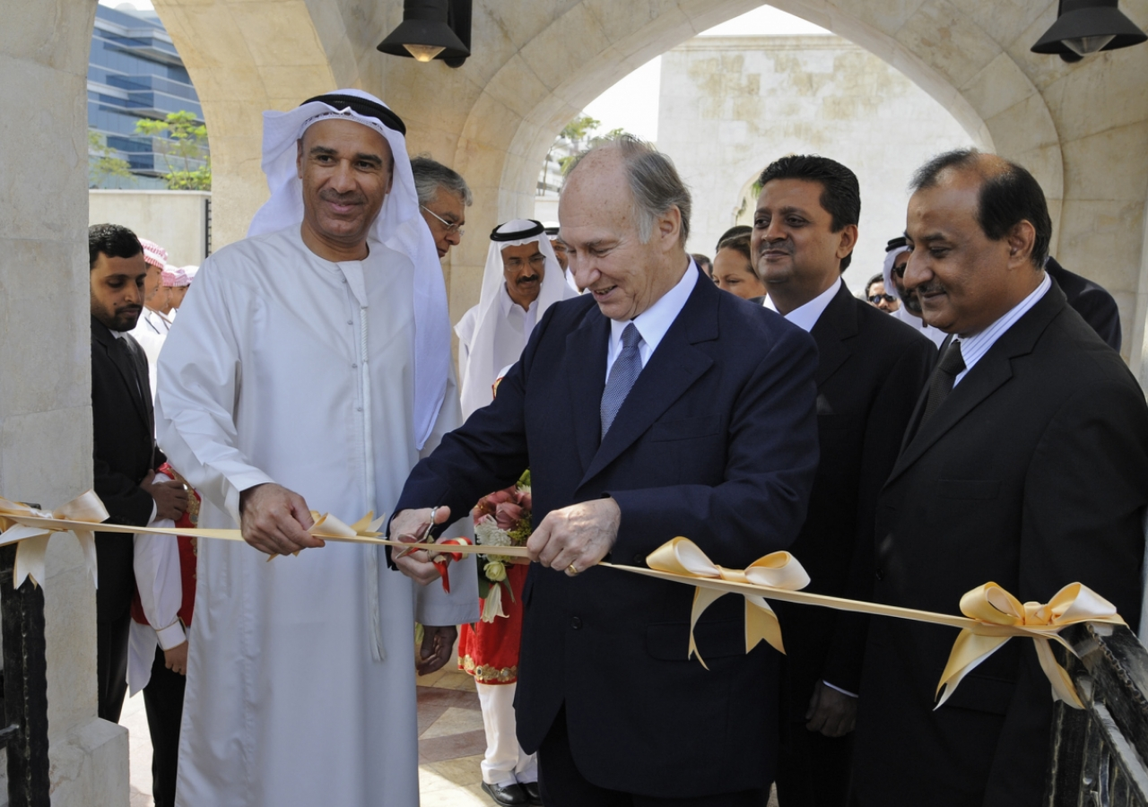 Mawlana Hazar Imam is joined by Hussain Nasir Lootah, Acting Director General of Dubai Municipality, for the ribbon-cutting ceremony inaugurating the Dubai Park. Leaders of the UAE Jamat look on.
