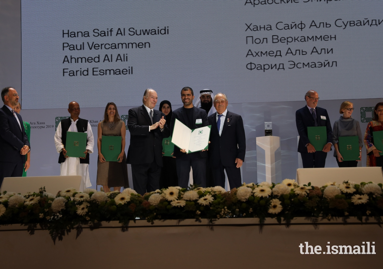 Farid Esmaeil is honoured at the Aga Khan Award for Architecture 2019 Ceremony for his work on the Wasit Wetland Centre in Sharjah, UAE.