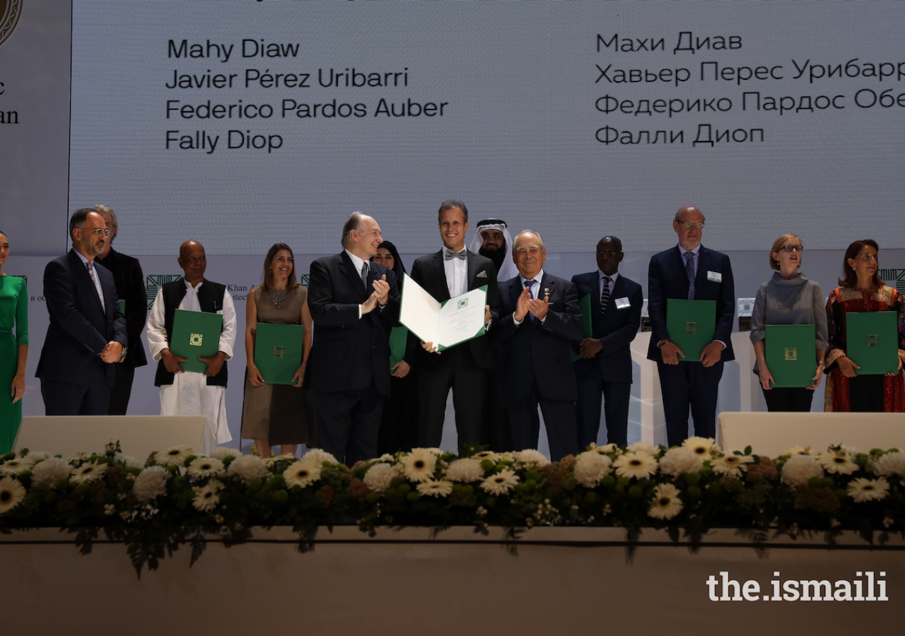 Federico Pardos Auber is honoured at the Aga Khan Award for Architecture 2019 Ceremony for his work on the Alioune Diop University Teaching and Research Unit in Bambey, Senegal.