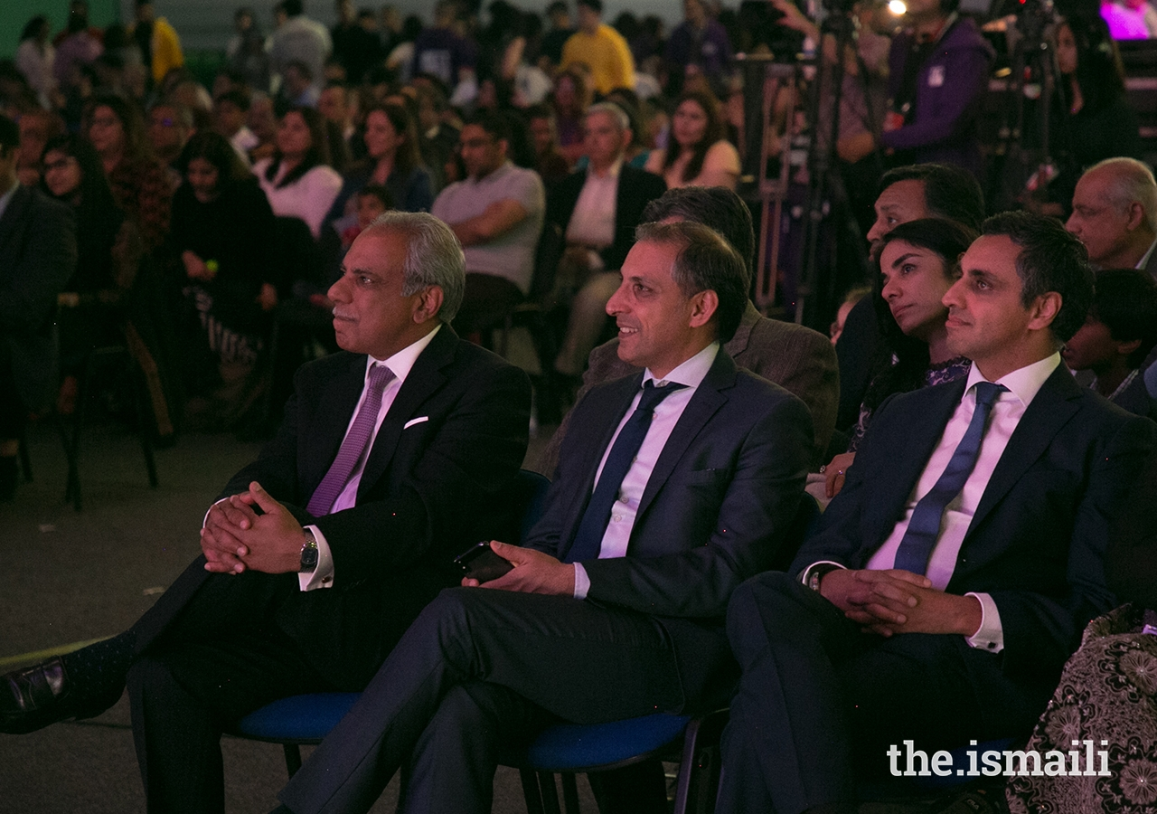 The Presidents of the Ismaili Councils for the United Kingdom, France, and Portugal jurisdictions at the opening ceremony of the European Sports Festival 2019.