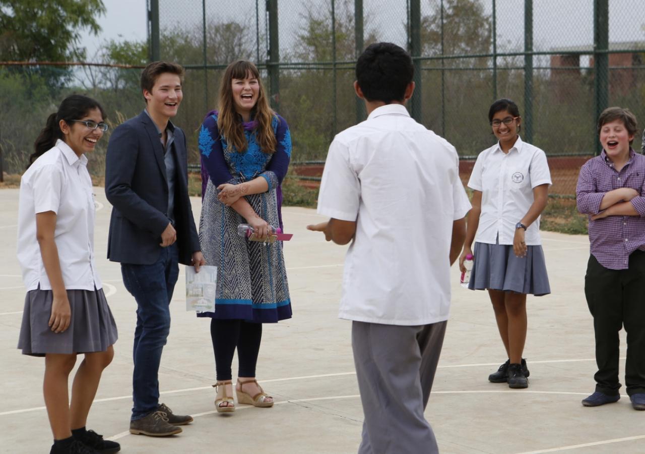 Prince Aly Muhammad, Sara, Iliyan and students share a few laughs on the basketball court of the Aga Khan Academy, Hyderabad. Nazim Lokhandwala