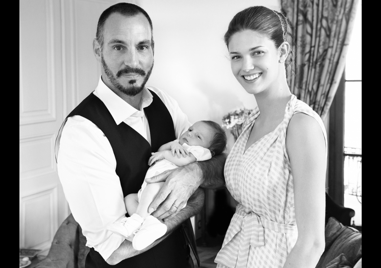 Prince Rahim holds his baby son, Prince Irfan, together with Princess Salwa. TheIsmaili