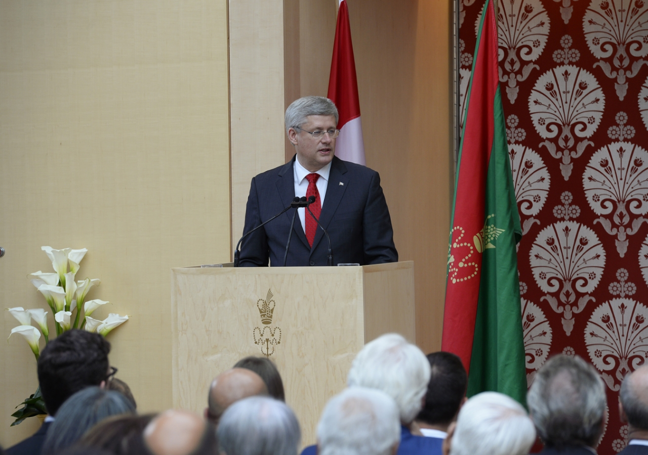 Prime Minister Stephen Harper, Guest of Honour at the opening ceremony of the Ismaili Centre, Toronto, delivers his address. Moez Visram