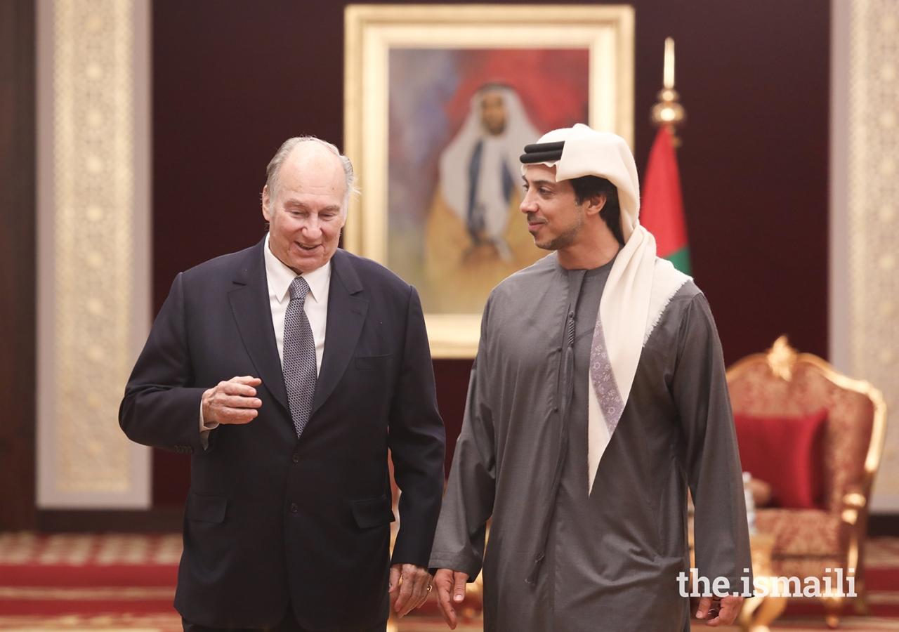 Mawlana Hazar Imam walks with His Highness Sheikh Mansour bin Zayed Al Nahyan.