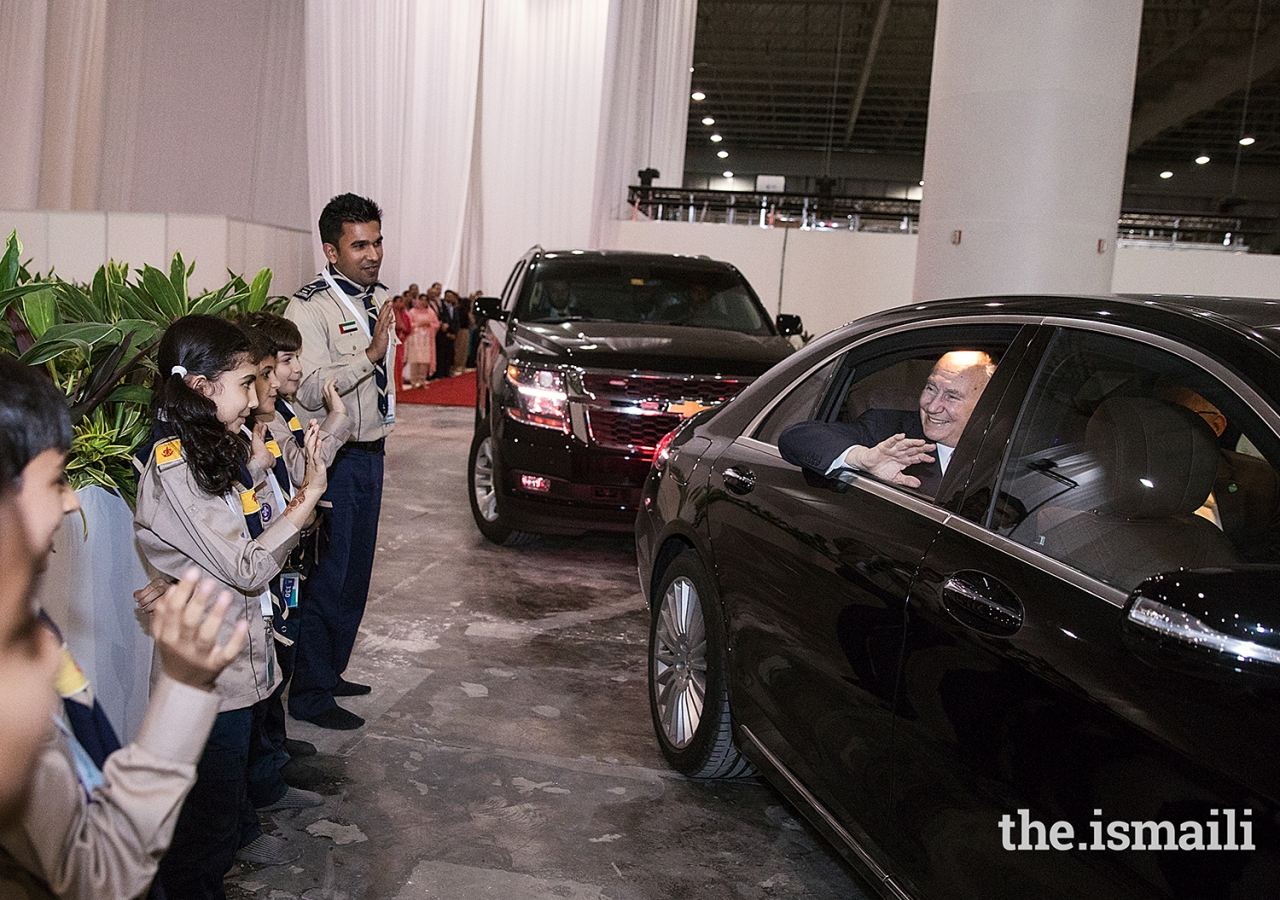 A lineup of Aga Khan Scouts and Guides bid farewell to Mawlana Hazar Imam upon his departure.