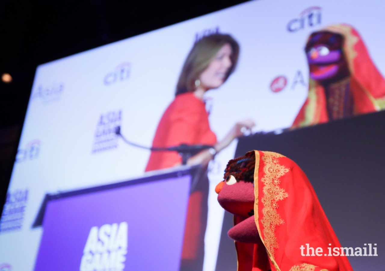 Zari, a Sesame Street muppet from Afghanistan. Sesame Workshop was a recipient of an Asia Game Changer Award for their work to inspire girls in Afghanistan to attend school.