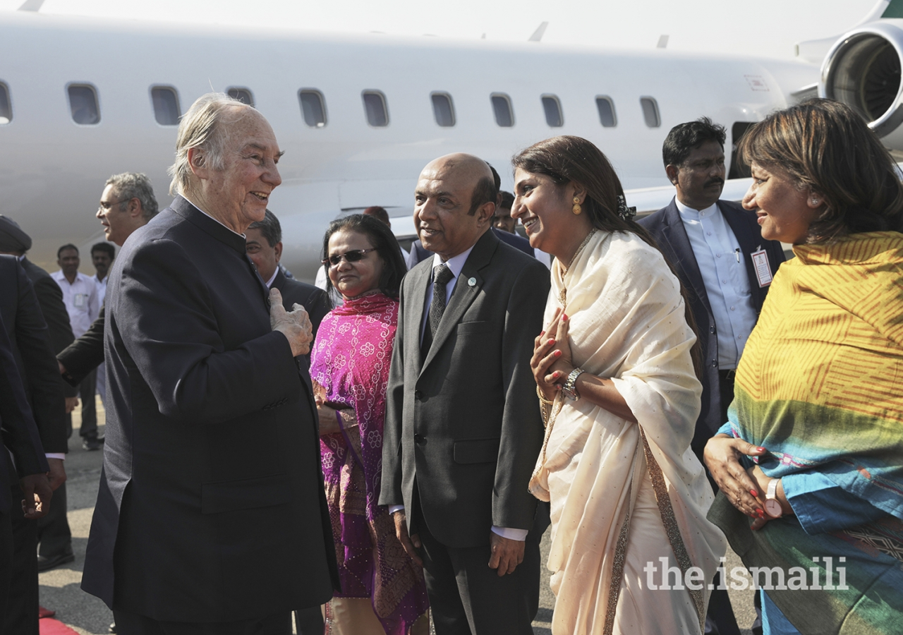 Mawlana Hazar Imam is greeted by Jamati leaders upon his arrival in Hyderabad during his Diamond Jubilee visit to India.