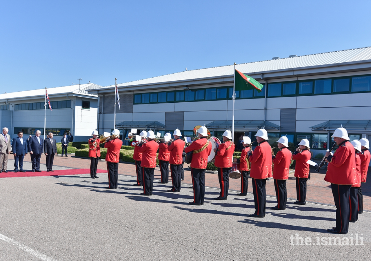 The Royal Imperial Military Band played the Nashid al-Imamah and the British National Anthem upon Mawlana Hazar Imam's arrival in London for his Diamond Jubilee visit to the United Kingdom.