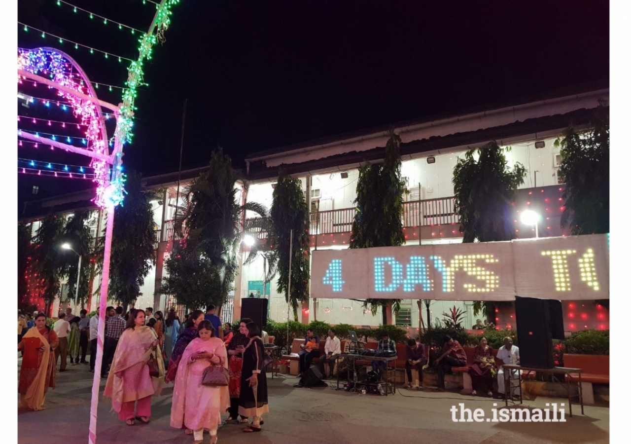 Byculla Jamat Khana in South Mumbai. The Indian Jamat have been counting down the days to Mawlana Hazar Imam's arrival.
