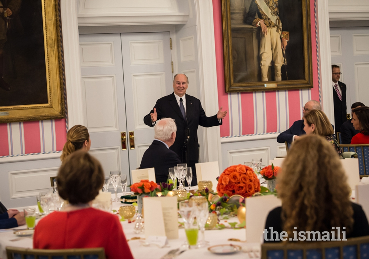Mawlana Hazar Imam addressing a room of Canadian leaders gathered at Rideau Hall in Ottawa to commemorate his Diamond Jubilee. During his remarks, Hazar Imam expressed infinite gratitude towards Canada for its wisdom, support, and collaboration.