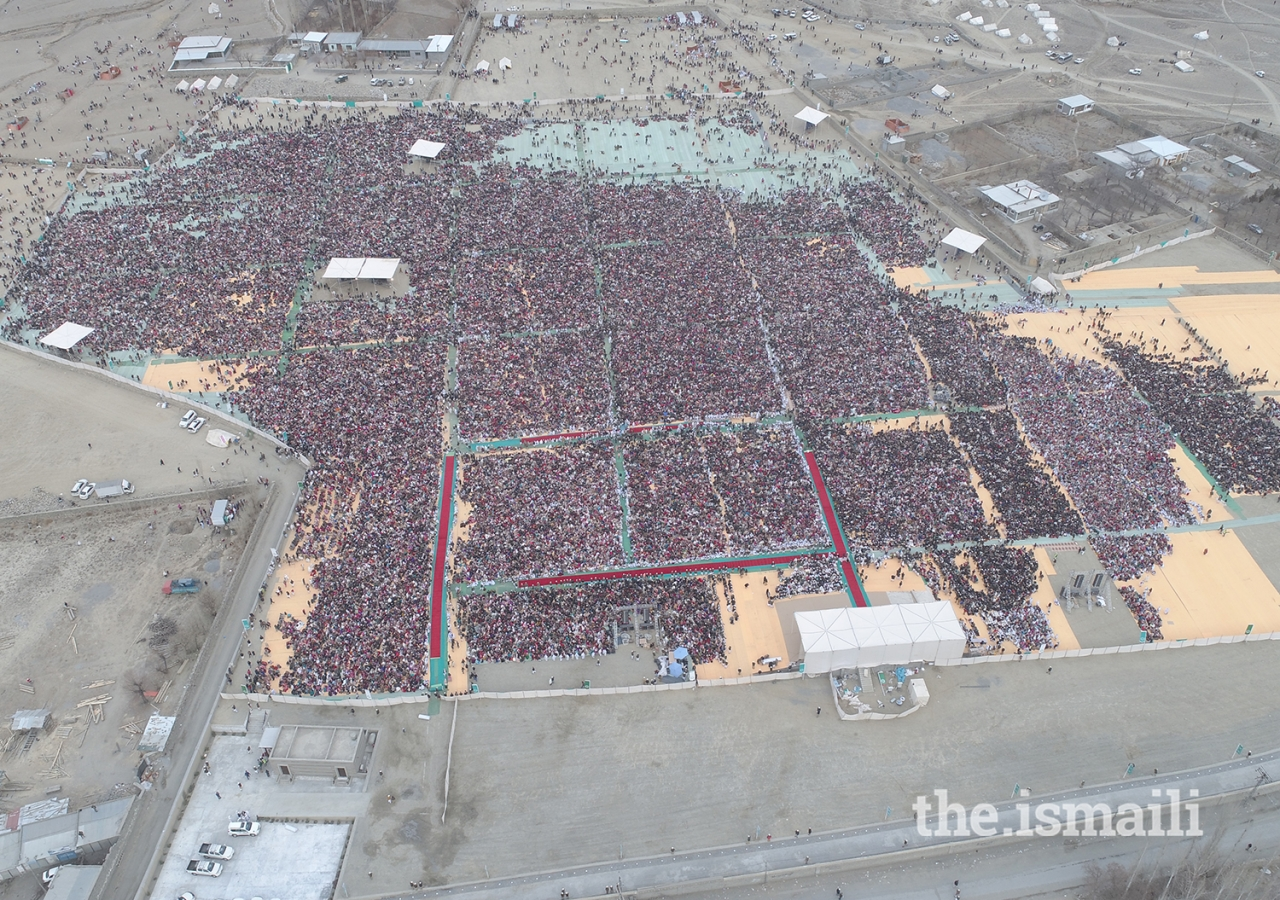 An aerial shot of the Jamat gathering for the Darbar at Taus, Yasin