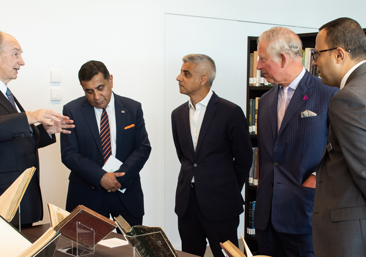 Mawlana Hazar Imam in conversation with Lord Ahmad, Mayor Sadiq Khan, HRH The Prince of Wales, and Head Librarian of the Aga Khan Library Dr. Walid Ghali.
