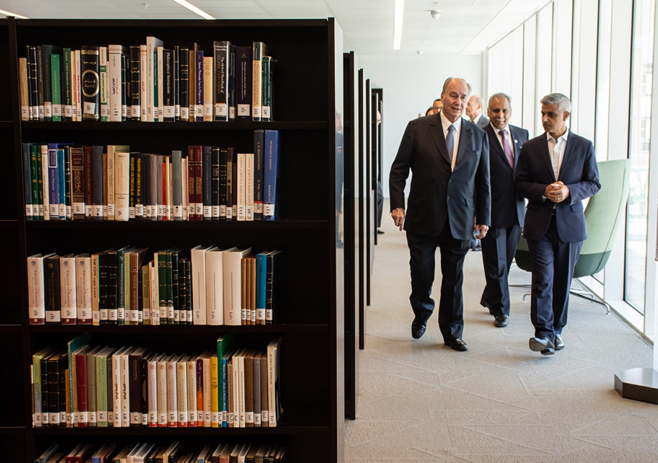Mawlana Hazar Imam and Mayor of London Sadiq Khan walk through the new Aga Khan Library.