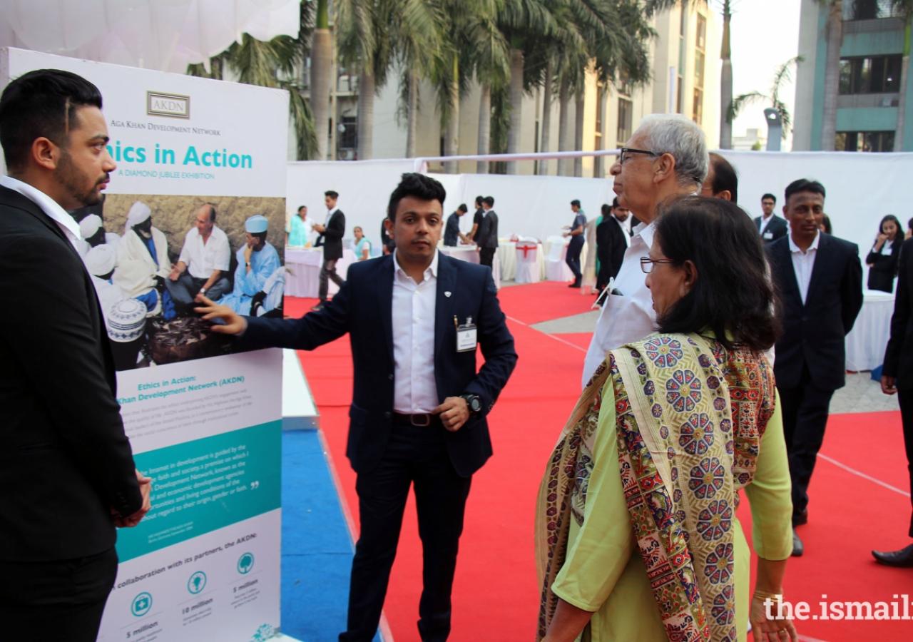 Ex-National President Mr Hasan Ali Firasta and Mrs Firasta at the Exhibition.