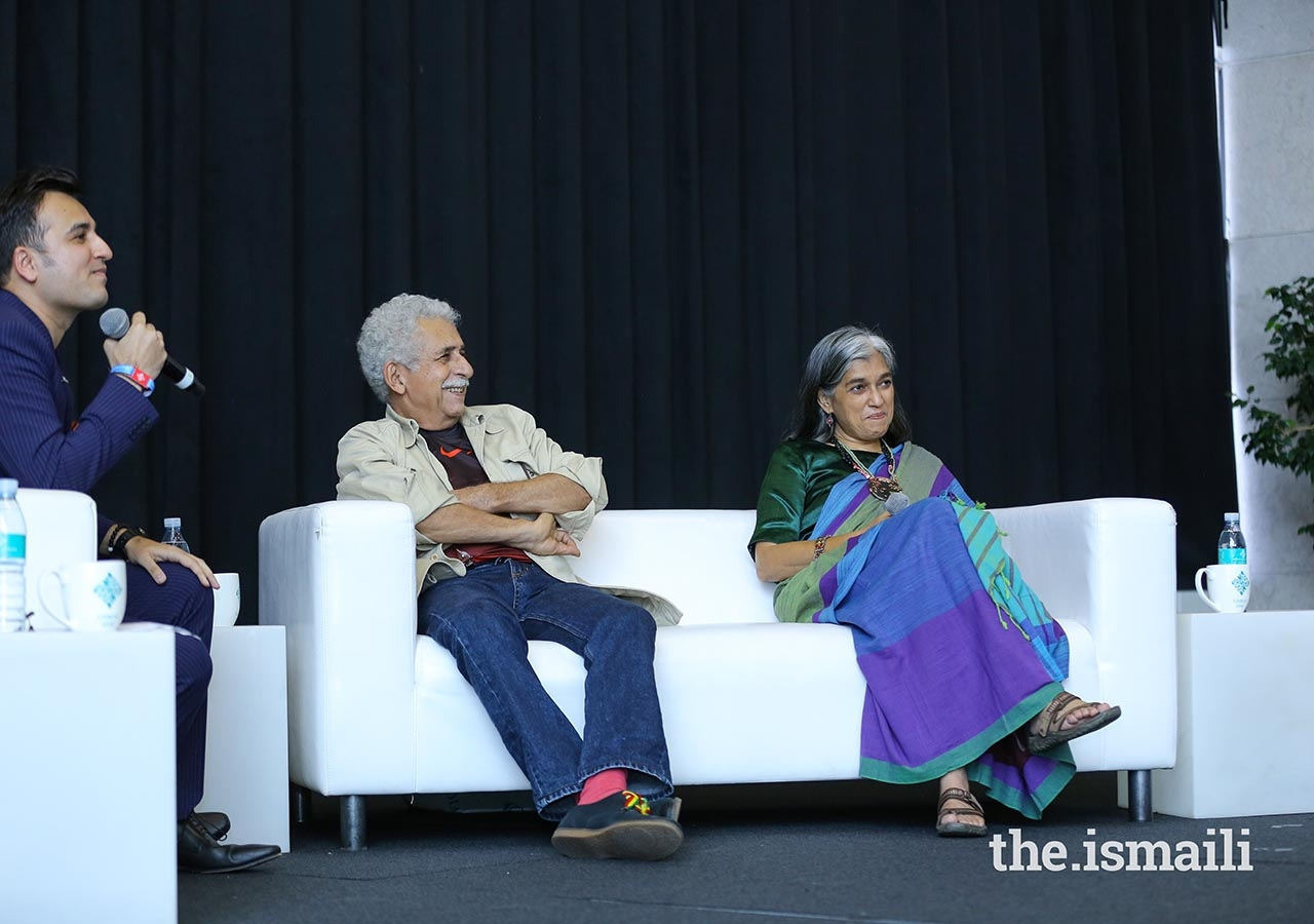 Actor Naseeruddin Shah and actress Ratna Pathak participate in a Chai and Chat session.