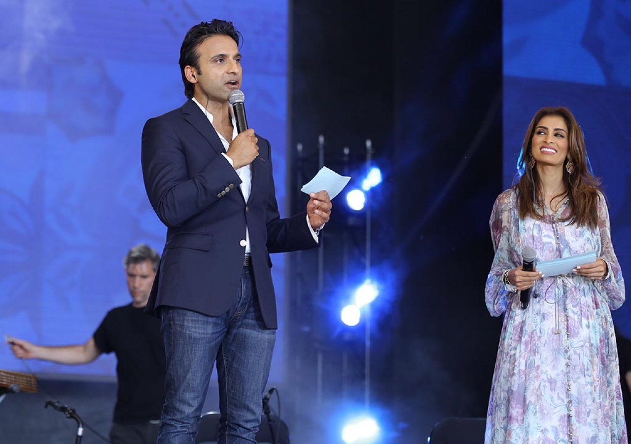 Siblings Huse and Rosemin Madhavji emcee the second International talent Showcase.