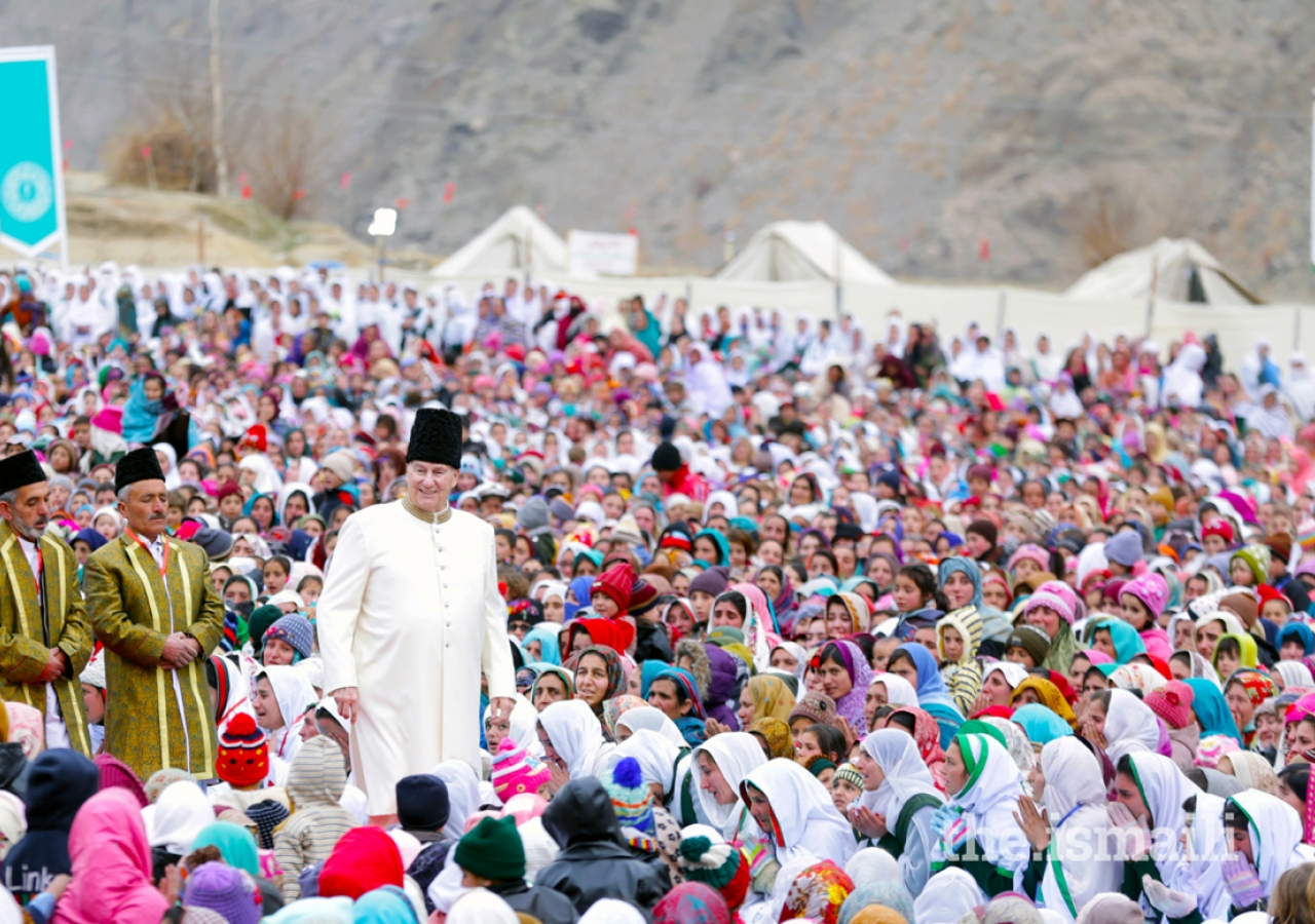 Mawlana Hazar Imam walks through the Jamat during the Darbar at Garamchashma, Lower Chitral