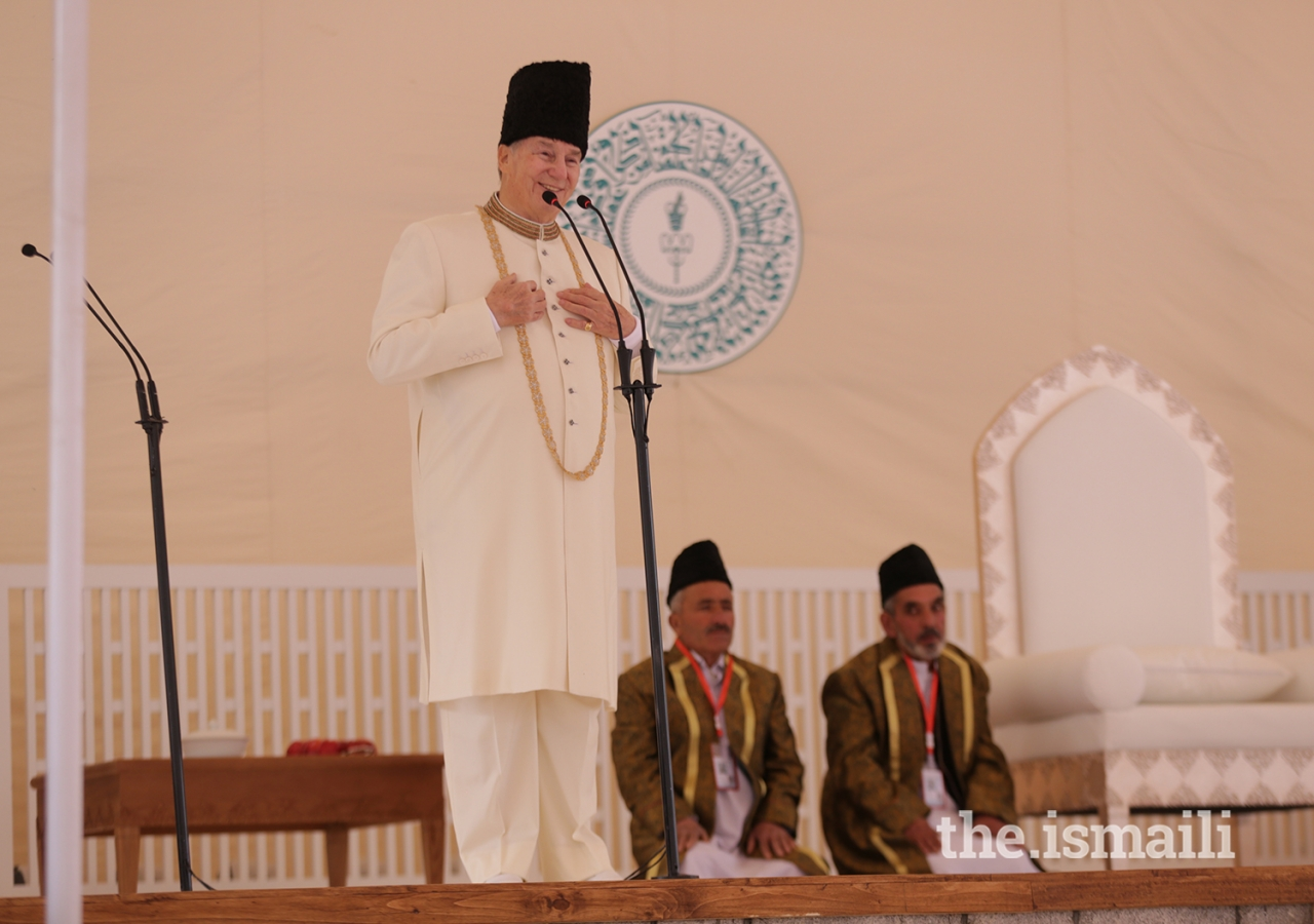 Mawlana Hazar Imam addresses the Jamat during the Darbar at Garamchashma, Lower Chitral