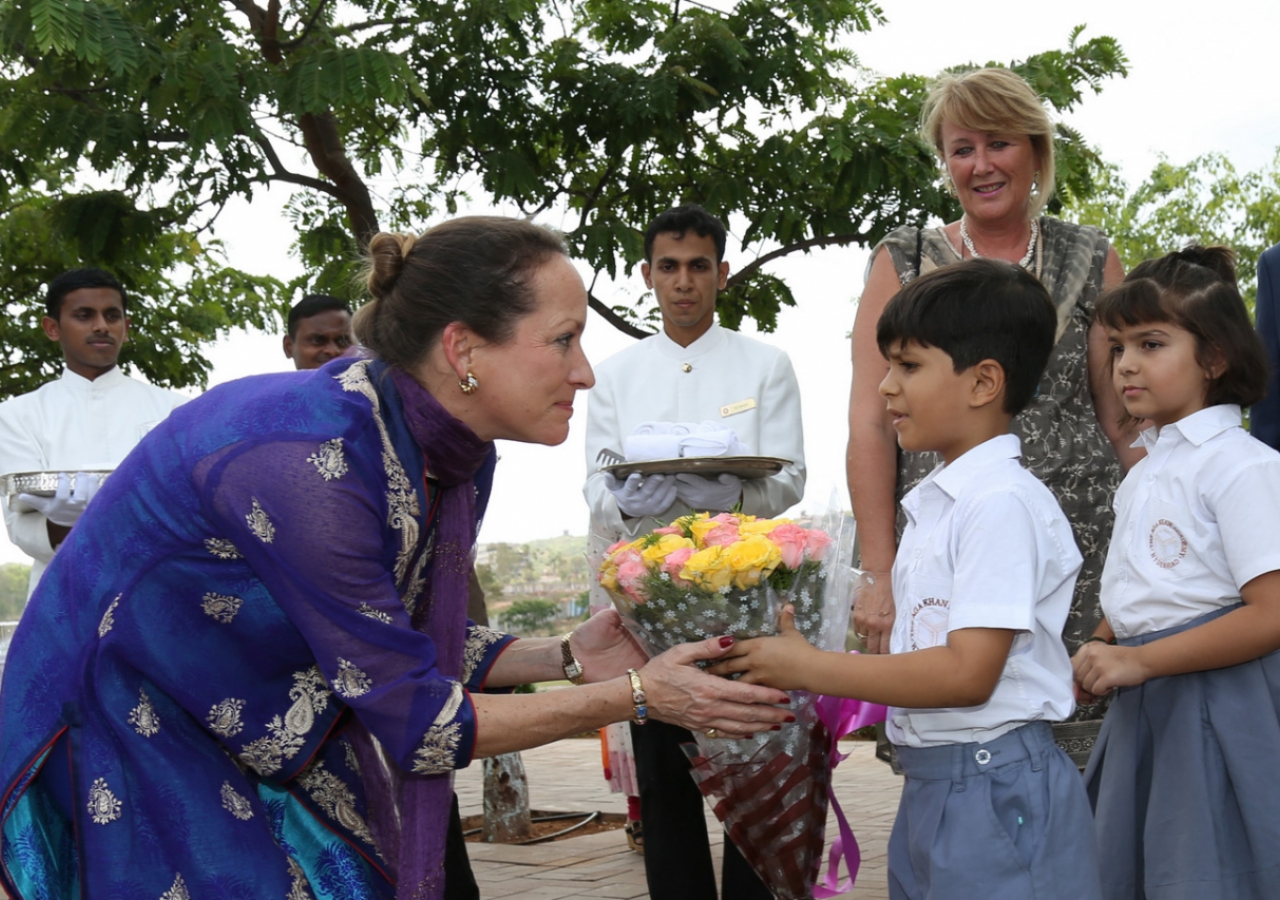 Junior School students welcome Princess Zahra with flowers at the Aga Khan Academy, Hyderabad. Ahmed Charania