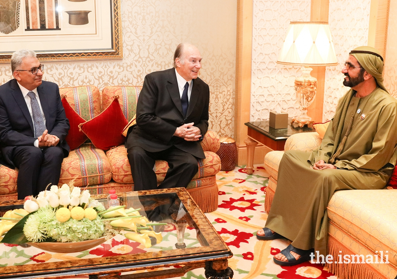 Mawlana Hazar Imam meeting with His Highness Sheikh Mohammed bin Rashid Al Maktoum at Zabeel Palace.