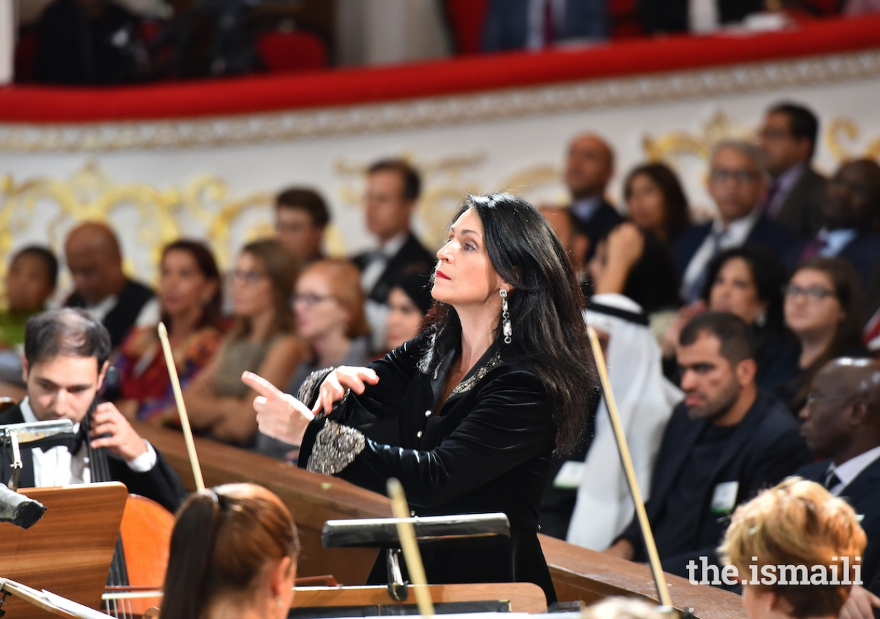 Anna Gulishambarova leads the Novaya Muzyka Chamber Orchestra at the Aga Khan Award for Architecture 2019 Ceremony.