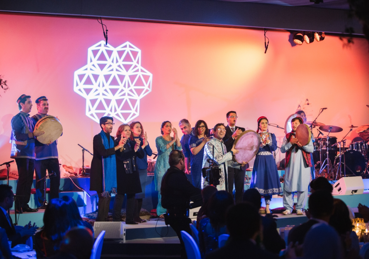 "Following their performance, the artists led the guests in singing ""Tavallod Mubarak"" - meaning happy birthday in Farsi. Photo: Farhez Rayani"