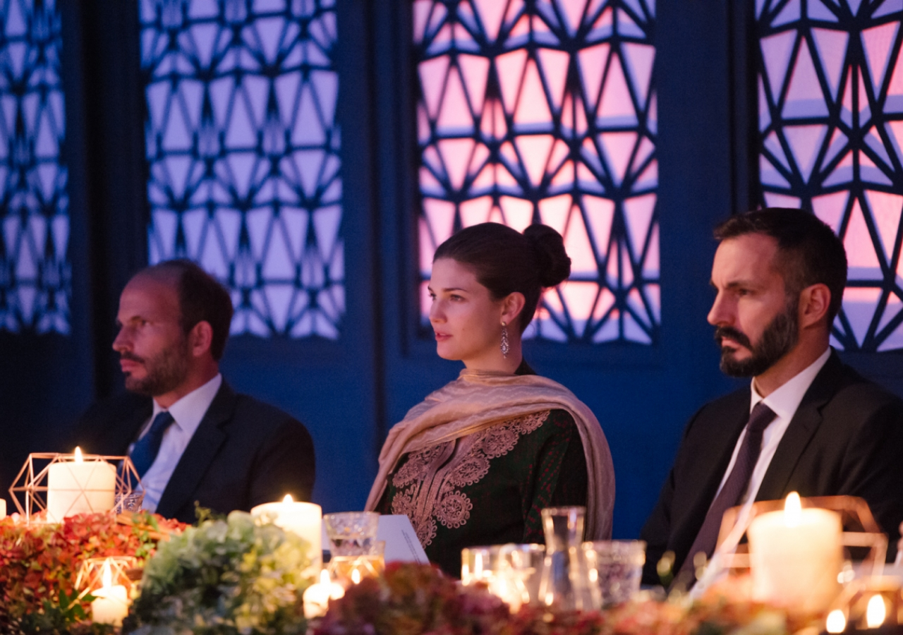 Prince Hussain, Princess Salwa and Prince Rahim take in the musical performance. Photo: Farhez Rayani