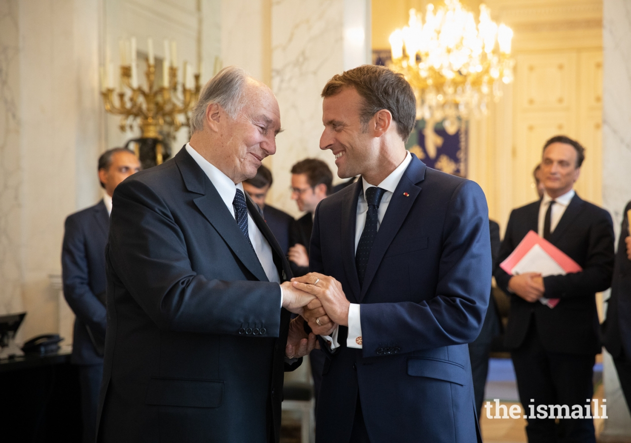 President Emmanuel Macron and Mawlana Hazar Imam after their meeting at the Élysée Palace.