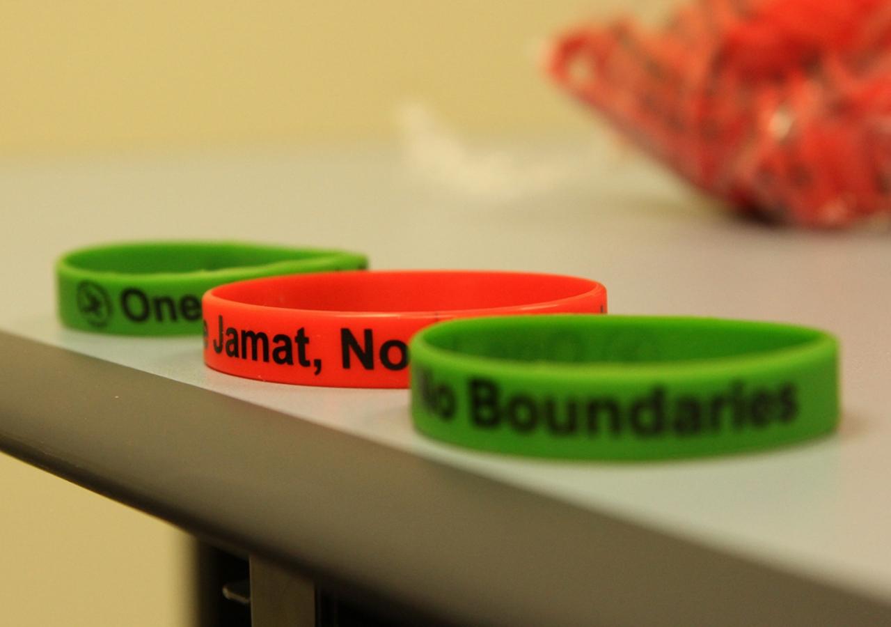 """One Jamat, No Boundaries"" themed wristbands await athletes and spectators at the 2016 ANZ Ismaili Sports Tournament. Sumair Khemani"