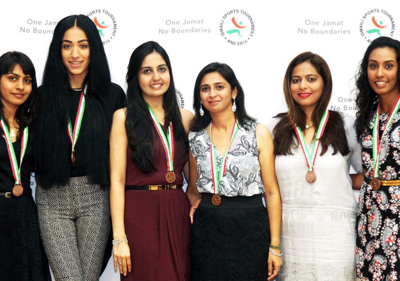 Medal winners posing at the closing ceremony. Ismaili Council for ANZ
