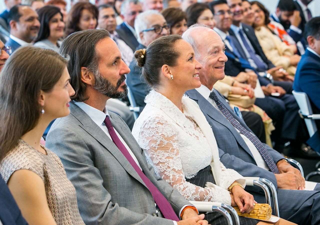 Prince Amyn, Princess Zahra, Prince Rahim, Princess Salwa, and Prince Hussain in attendance at the opening of the Aga Khan Centre at London's Kings Cross.
