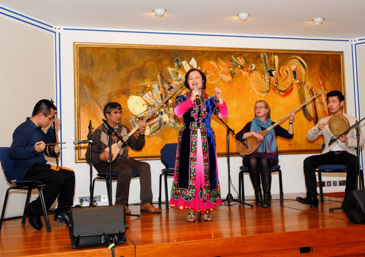 The London Uyghur Ensemble in performance at the Ismaili Centre, London as part of the 2014 Nour Festival. Sadrudin Verjee