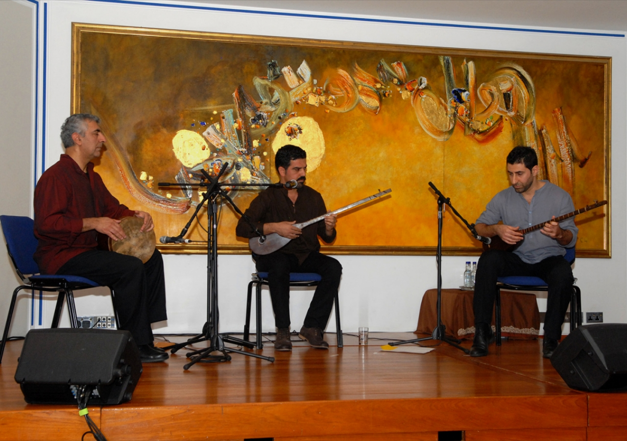 The Parvaz Ensemble, founded by Arash Moradi and Fariborz Kiannejad, perform music inspired by the Kurdish tambour, maqam. Sadrudin Verjee