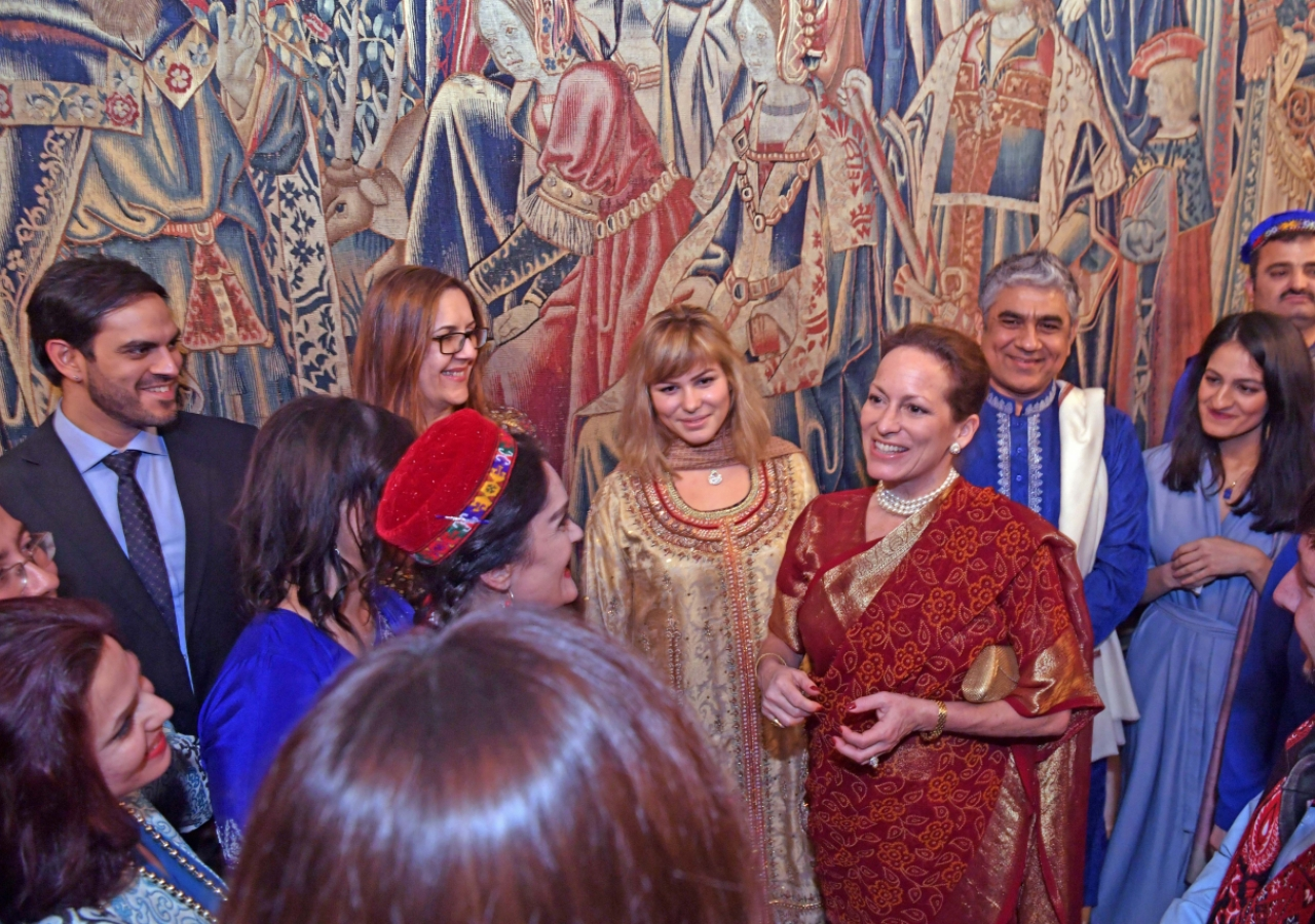 Princess Zahra and her daughter Sara meet with the artists after their performance. Photo: Zahur Ramji