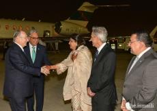 Mawlana Hazar Imam greets leaders of the Jamat upon his arrival in Dubai.