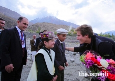 Prince Aly Muhammad is presented a bouquet of flowers upon his arrival in Immit, Ishkoman Punyal, Gilgit-Baltitsan