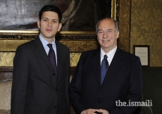 Mawlana Hazar Imam meets with British Foreign Secretary, The Rt Honourable David Miliband, London, 3 July 2008.