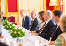 Mawlana Hazar Imam and guests at a luncheon hosted by senior UK government officials at Lancaster House.