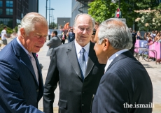 HRH The Prince of Wales is welcomed to the Aga Khan Centre by Mawlana Hazar Imam and Liakat Hasham, President of the Ismaili Council for the UK.