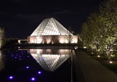 Visible from the Don Valley Parkway, the crystalline frosted glass dome of the Ismaili Centre Jamatkhana radiates light at night from the highest point of the site. Gary Otte