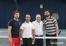 Tennis final participants at the European Sports Festival, held at the University of Nottingham.