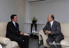 The Rt Hon David Cameron, Leader of the Opposition, with Mawlana Hazar Imam at The Ismaili Centre, London, 7 July 2008.