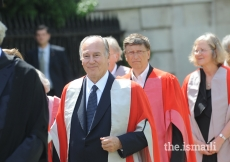 Mawlana Hazar Imam, Bill Gates and other Honorary Degree recipients processing into Senate House for the Degree ceremony - at Cambridge University, Cambridge, 12 June 2009.